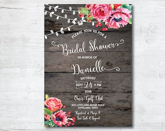 Wedding Shower Invitation Template, Printable Bridal Shower Invitation, Bridal Shower Invitation, Bridal Shower, Invitation, Rustic, Shower