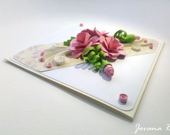 Handmade greeting card/ Quilling card/Flowers card/ Birthday card/Mothers day card/ Wedding card