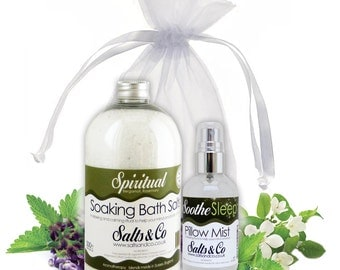 Spiritual and Soothe - Aromatherapy Bath Salts + Pillow Spray Mist Gift Set - Organza Bag - Bergamot,Rosemary,Eucalyptus, Frankincense