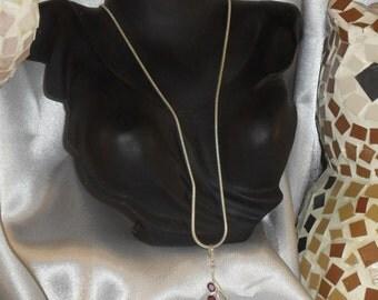 Garnet rhodolite gemstone necklace semi precious and Silver 925
