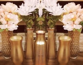 Vases, Wedding centerpieces, vintage, gold shine, assorted 7 piece