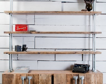 Jo 4 Door Reclaimed Scaffolding Board and Galvanised Steel Pipe Sideboard with Shelves Above - bespoke furniture by www.urbangrain.co.uk