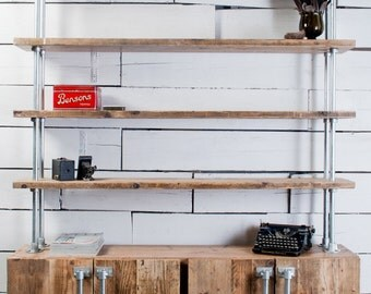 Jo 4 Door Reclaimed Scaffolding Board and Galvanised Steel Pipe Sideboard with Shelves Above - bespoke furniture by www.urbangrain.co.uk
