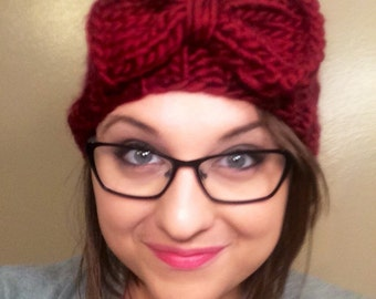Red Chunky Knit Headband With Bow