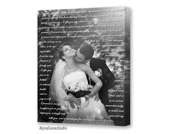 Wedding Gift First Dance Lyrics/ Custom Canvas / Your Wedding Photo with your Lyrics/ Vows/ Love Story. Unique wall decor.