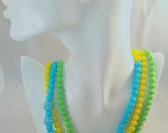 Yellow Green Blue Three Strand Necklace