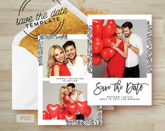 Save the Date Card Template - Wedding Announcement Card Template - Engagement Card Photoshop Template - Photography Marketing Template - PSD