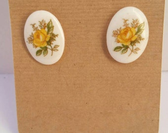 Yellow rose cabochon earrings