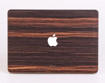 Macbook Wood Skin for Pro Air 11, 12, 13, 15 inch - Mac book Skin - Ebony Real Wood Mac Case - Macbook Pro Skin Wood - Mac Decal Wood