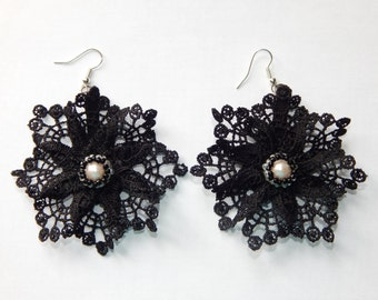 "Black lace earrings ""Black Swan"", boho lace earrings, dangle earrings, black lace, lace jewelry, statement earrings, gift for her."