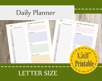 2017 Daily Planner Printable, 2018 Planner Organizer, Daily Planner Printable 8,5x11-LETTER Planner Insert