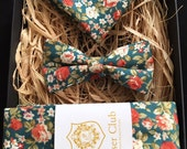 Necktie, Bow Tie and Pocket Square 'Hunter Green' Trio Set by Poser
