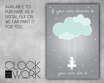 Wall Art, Prints, Home Decor, Inspirational Quotes, Nursery Prints, Printed or Digital File Available, If You Can Dream It, Boy