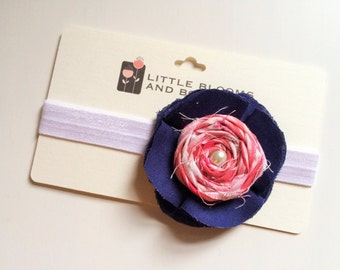 Fabric floral headband or alligator clip - pink and white rosette with a pearl center on a navy blossom