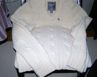 A & F Cream Wool/Cashmere Blend Cable-Knit for Dudes - size XL