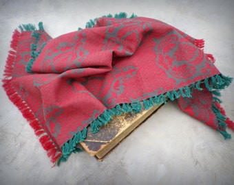 Vintage table runner, red / green small table runner, woven in India, cotton table runner,  Indian design,  tribal style table runner