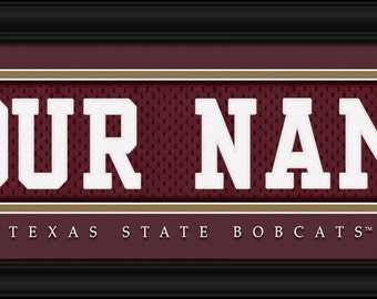 Texas State Bobcats NCAA Framed Personalized Jersey Nameplate College Sports  Home Decor 22x6 Inches Free Shipping