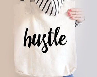 Funny Cotton Canvas Market Shopping Tote Bag- Beach Bag - Book Bag - Hustle
