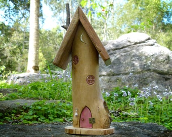 OOAK Wooden Fairy House with Pink Opening Door, Resin Windows and Crescent Moon