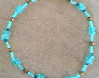Blue Peruvian Opal and Semiprecious Stone and Gold Vermeil Necklace