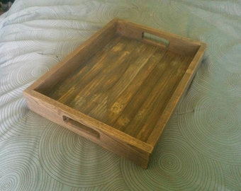 Solid hardwood serving tray