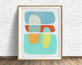 "mid century modern art, mid century modern wall art, large art, printable art, instant download, large wall art, abstract art - ""Pods No. 7"""