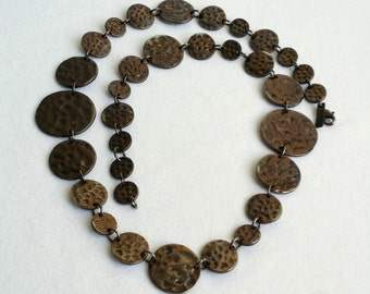 Beautiful Vintage Chocolate Hammered Coin Necklace. Daisy Fuentes Necklace