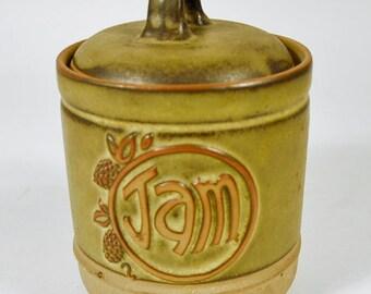 Vintage Tremar JAM POT, Cornish Studio Stoneware Pottery, Preserve Jar 1970s