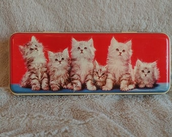 VINTAGE Metal Henry Taylor Made In England box / Mid-Century Rustic Container Toffee Tin / VTG Metal Collection of cat box