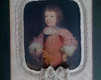Vintage Framed Print, Portrait of Young Boy. Framed Art Reproduction. RFP0032