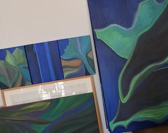 Vegetable Majorelle I triptych 3 canvas 24x30cm
