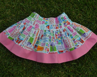 Girls skirt, birthday party skirt, girls birthday skirt, girls size 3 skirt, twirly skirt, ready to ship, bright, pink