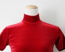 Vintage Red Velvet Mock Turtleneck