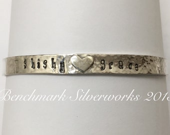 Custom Silver Bangle Hammered Finish