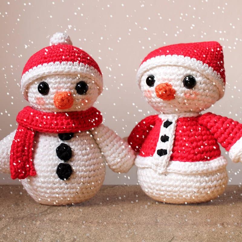 Snowmen Christmas Patterns. Amigurumi PDF Snowman Toy Cute