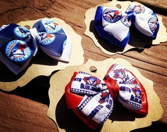Hair Bows made with Blue Jays Ribbon. Let's Go Blue Jays!