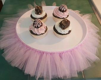 TUTU CAKE STAND princess pink tulle cupcake tier skirt decorations Baby Shower bridal sweet 16 Birthday Party wedding centerpiece ballerina