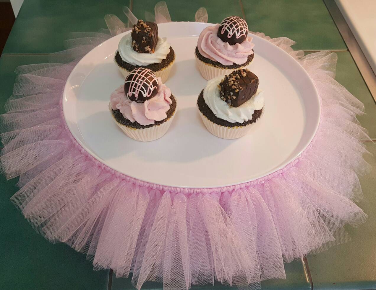 Cake Stand Tutu Pink Xl Cupcake Tier Tulle Skirt Princess