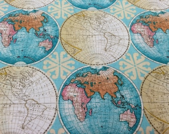Vintage Style Globes World Map fabric, novelty fabric, world, map, globe, countries, cotton fabric