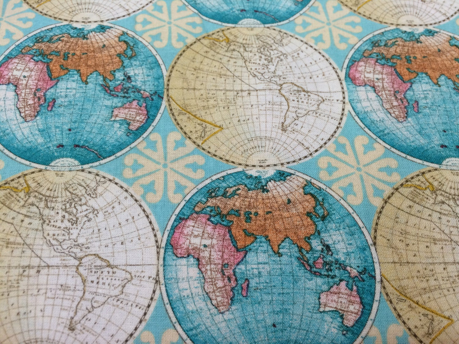Vintage Style Globes World Map fabric novelty fabric world