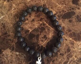 Black Beaded Crown Bracelet
