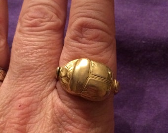Vintage Gold Plated Scarab Ring