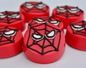 Spiderman Inspired Chocolate Covered Oreos (12), Spiderman Party, Superhero Party, Spiderman favors, Superhero favors,Candy Buffet,Chocolate