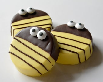 Chocolate, Bee Baby Shower Favors (12), Bumble Bee Chocolate Covered Oreos, Chocolate Bumble Bee Favors, Gender Reveal, What will it Bee