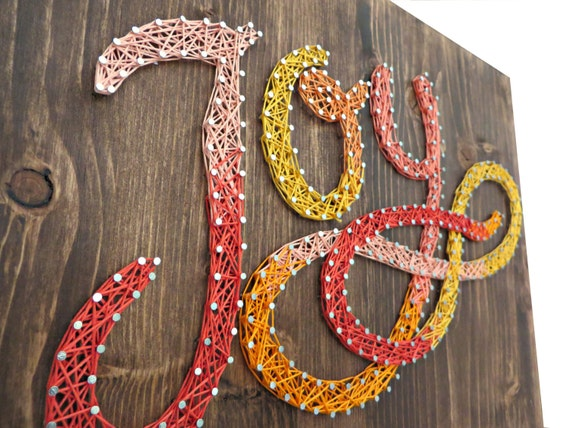 DIY String Art Kit - Joy Sign, Home Decor, DIY Kit, DIY Decor, Wall Decor, Room Decor - String, Nails, Instructions, Stained Wood, Pattern