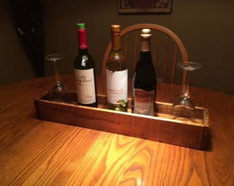 Wine serving centerpiece hand made out of a pallet