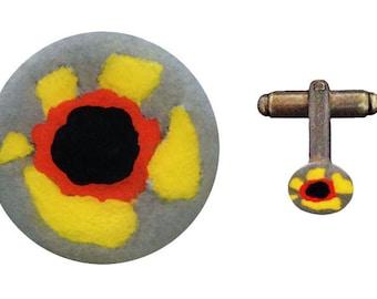 flower cufflink - yellow