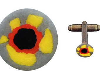 flower cufflink - yellow, 10mm