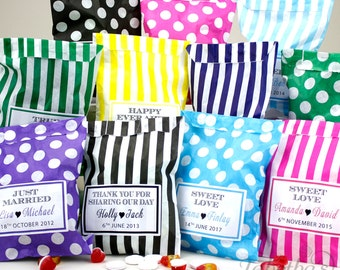 10 x Personalised Wedding Favour Sweet Birthday Candy Bag | Candy Striped | Polka Dot