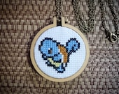 Squirtle Cross Stitch Necklace